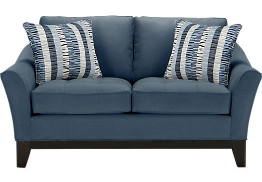 Picture Of Cindy Crawford Home Newport Cove Indigo Loveseat From Loveseats Furniture Sleeper Sofa Affordable Cindy Crawford Home Apartment Size Sofa