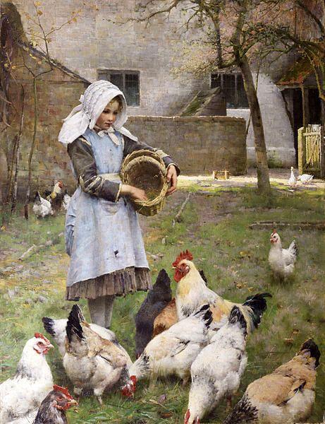 Feeding The Chickens by Walter Frederick Osborne (1859 – 1903,Irish):