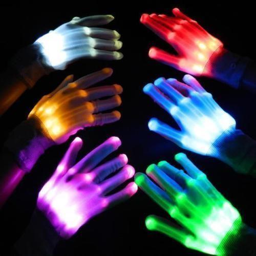 LED Light Gloves Finger Electro Rave Party Dance Skeleton Halloween Christmas
