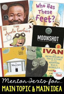 Primary informational mentor text suggested book list for finding the main topic or main idea and support key details- RI.1.2, RI.2.2, RI.3.2