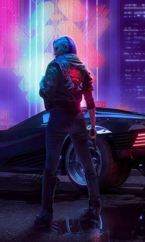 Cyberpunk 2077 A Girl With Car Art 480x800 Wallpaper With