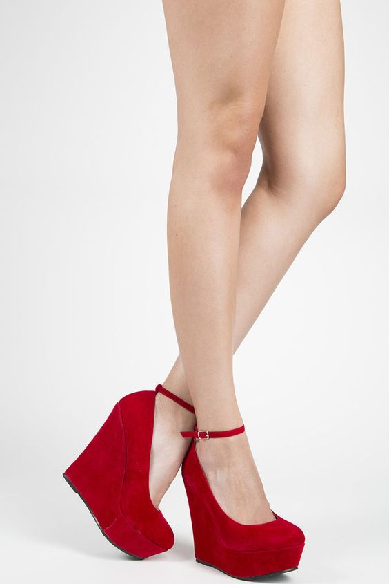 Red suede closed toe removable ankle strap wedge heel platform