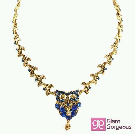 Blue Gold Tone Rhinestone Earring Necklace Jewelry SET Designer Elegant Party | eBay
