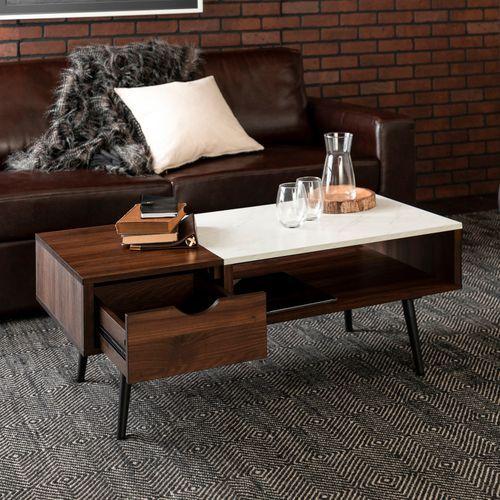 Mid Century Dark Walnut Faux Marble Coffee Table Coffee Table
