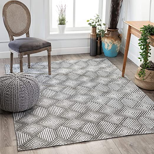 Well Woven Flynn Grey Hi Low Pile Tribal Geometric Diamonds Area Rug 8x10 7 10 Quot X 9 10 Quot In 2020 Well Woven 8x10 Area Rugs Tribal Geometric