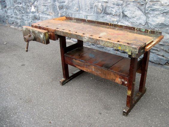 Antique Carpenters Woodworking Bench Kitchen Island Wood