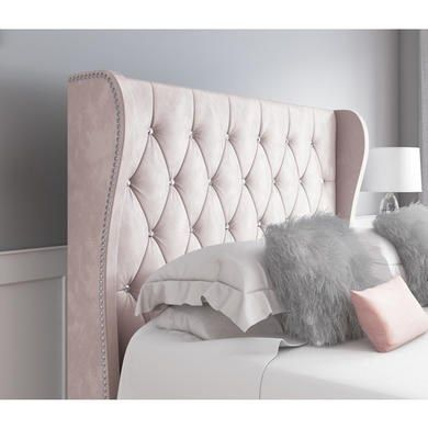 Safina Diamante Wing Back Double Ottoman Bed In Light Pink Velvet Pink Headboard Ottoman Bed Pink Bedding