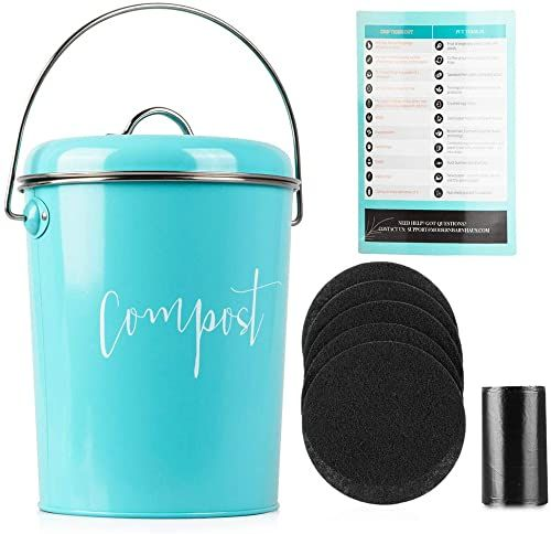 New Compost Bin Kitchen Counter Stainless Steel Countertop Compost Container 1 3 Gallon Indoor Compost Bucket Counter Composter Pail Lid 50 Compost Bags 6 Cha In 2020 Compost Container Compost Bags Compost Bucket
