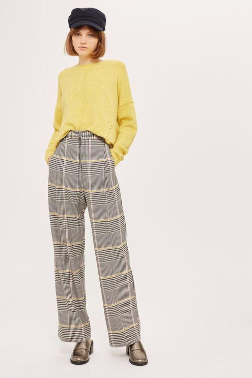 Bright Checked Wide Leg Trousers