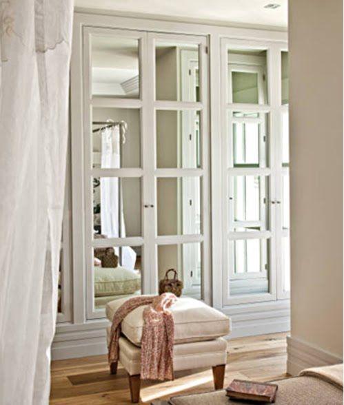 mirrored doors in master closet... do antiqued mirror instead.