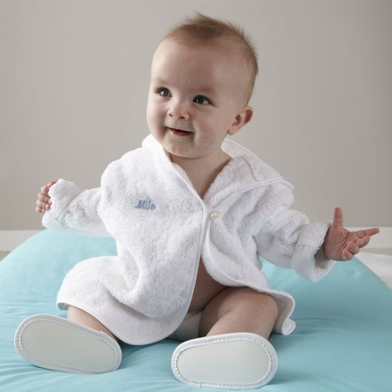 Personalized Bath Robe and Slippers (Blue) | The Land of Nod