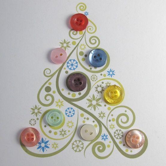 pretty button Christmas card