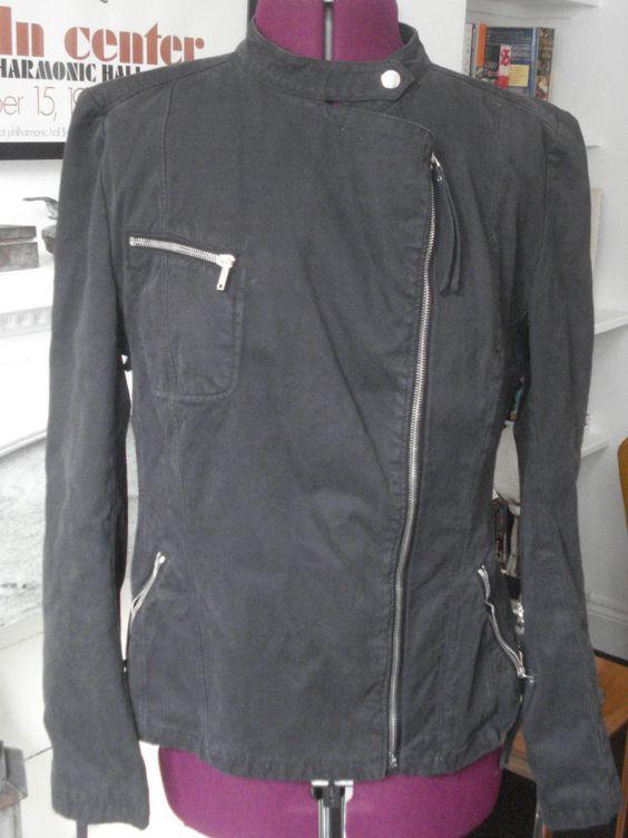 NICOLE FARHI DARK CHARCOAL COTTON BIKER'S JACKET ~ UK 14 EURO 40 US 10 | eBay