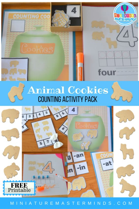 Animal Cookie Free Printable Counting And Word Family Activity Pack – Clip…