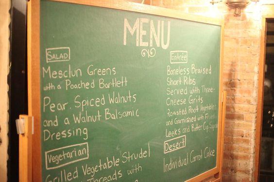 Chalk Board menu!