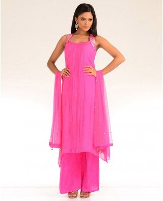 Pleated Light Pink Suit with Embellishments - Exclusively In