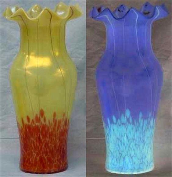Art Nouveau Tall Loetz Vase URANIUM GLASS!!!