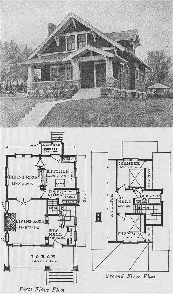 House plans historic floor plans pinterest craftsman for Historic craftsman house plans