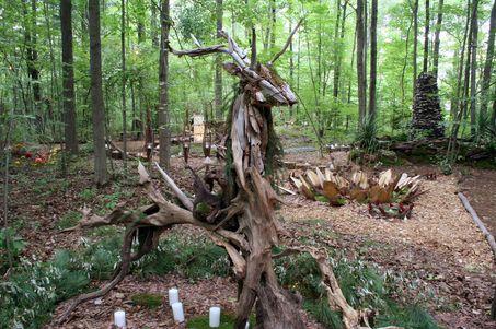 A driftwood deer was constructed by artist James Lutke