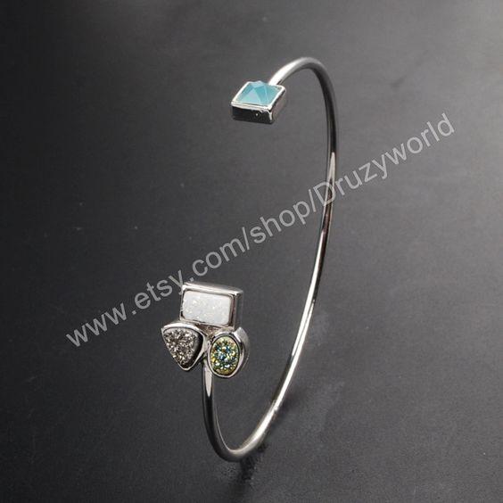 1 Pcs Silver Plated Sparkle Titanium Druzy & Square Blue Chalcedony Agate Bangle Bracelet Adjustable Natural Drusy Bezel Handcuff ZS030 by Druzyworld on Etsy