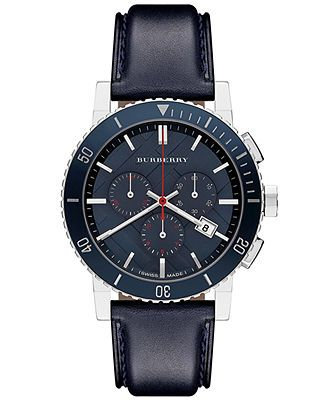 burberry s swiss chronograph blue leather