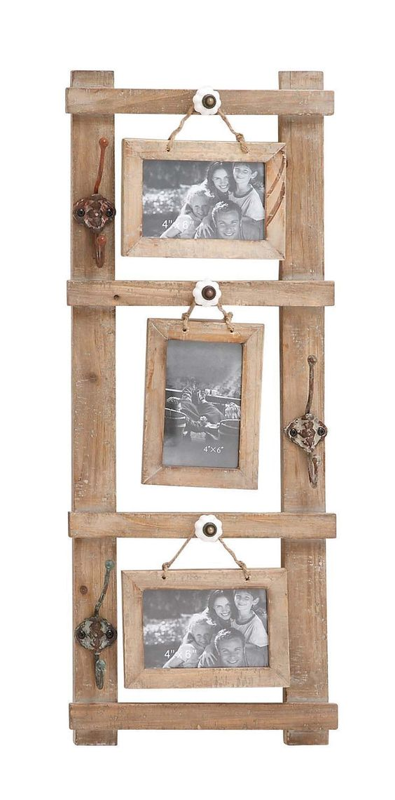 Rustic Western Wood Picture Frame 3 Hanging 5x7 Photos Vintage Look Metal Hooks