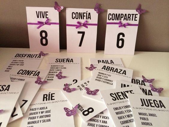 Meseros y seating preparados para una boda en morados y con muchas mariposas, la boda de Romina y Juan Carlos (Club de Campo, 2014).