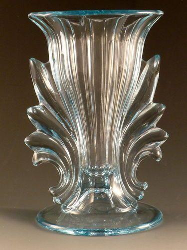 "Fostoria Baroque Blue Vase Azure Winged 7"" Footed"