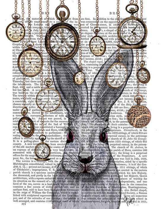 Rabbit Time White Rabbit Alice in Wonderland Print by FabFunky, $15.00: