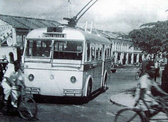 Penang had an advanced public transportation. It had a tram services and later electric buses.: