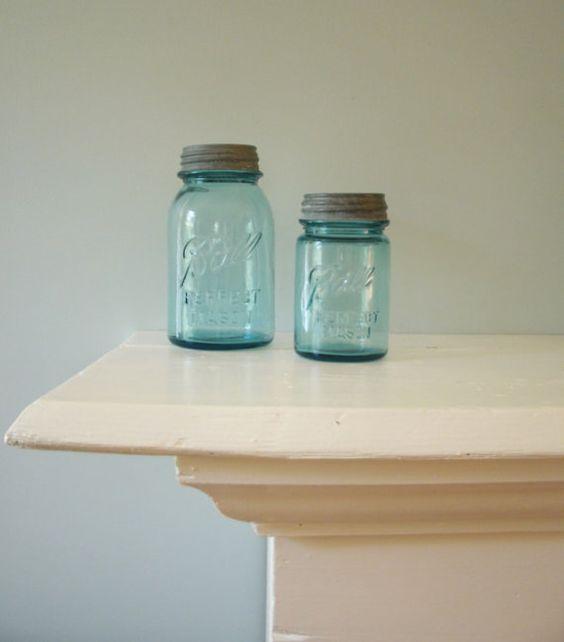 Beautiful Blue Ball Perfect Mason Jars Set of Two Zinc Lid