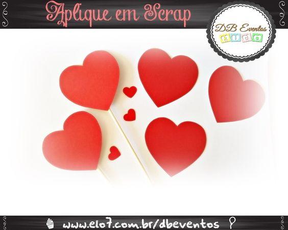 Aplique de coração em Scrap