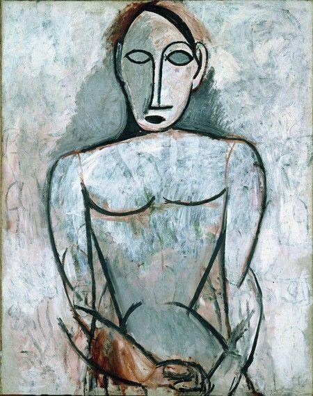 Pablo Picasso Femme aux mains jointes (Etude pour 'Les Demoiselles d'Avignon'), Paris, 1907. Huile sur toile, 90,5 cm x 71,5 cm. Musée Picasso. // Succession Picasso 2015. Photo RMN Grand Palais. René-Gabriel Ojéda.
