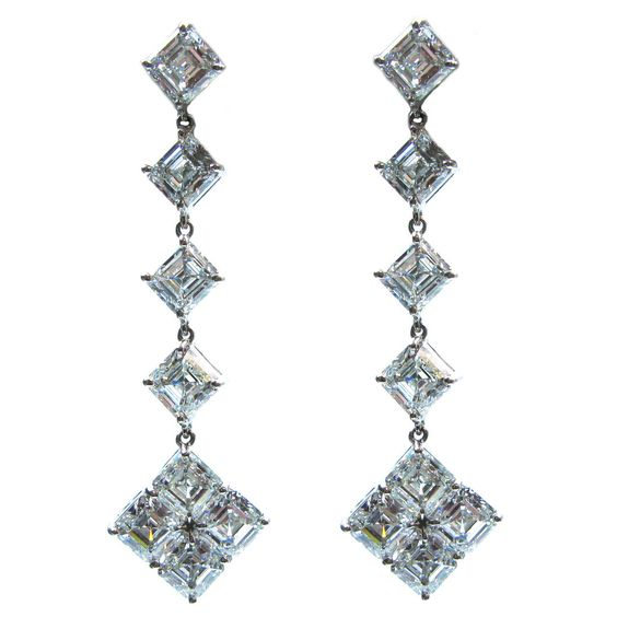 GIA Cert Asscher Cut Diamond Platinum Dangle Earrings
