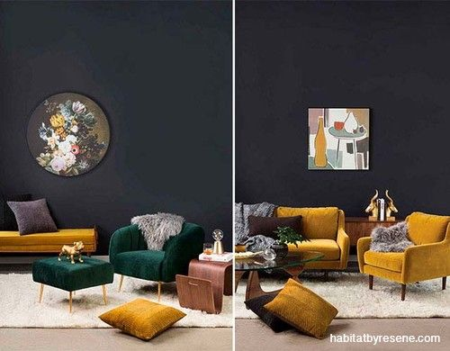On Trend Colours Like Mustard And Jade Green Are Ideal To Showcase Against Dark Walls In Thi Living Room Color Living Room Design Diy Feature Wall Living Room