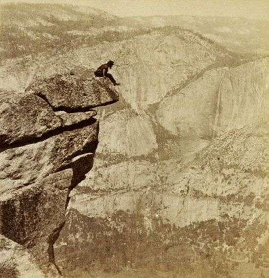 Eadweard Muybridge - Contemplation Rock, Glacier Point, 1872 albumen stereograph detail