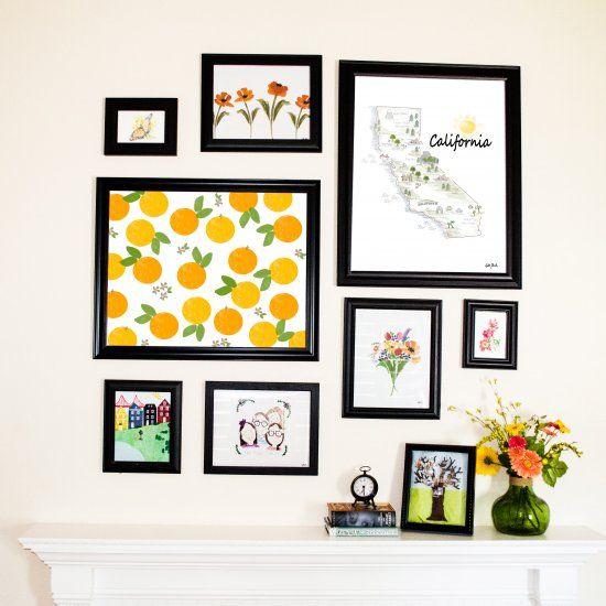 Like this gallery wall above my fireplace?  You can download the high resolution printable art for free!