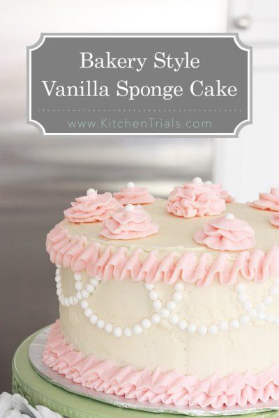Bakery style vanilla sponge cake.   This is a recipe straight from a famous bakery in the US. Dense enough to hold any filling, but still super moist and delicious. Finally, the perfect vanilla cake recipe!