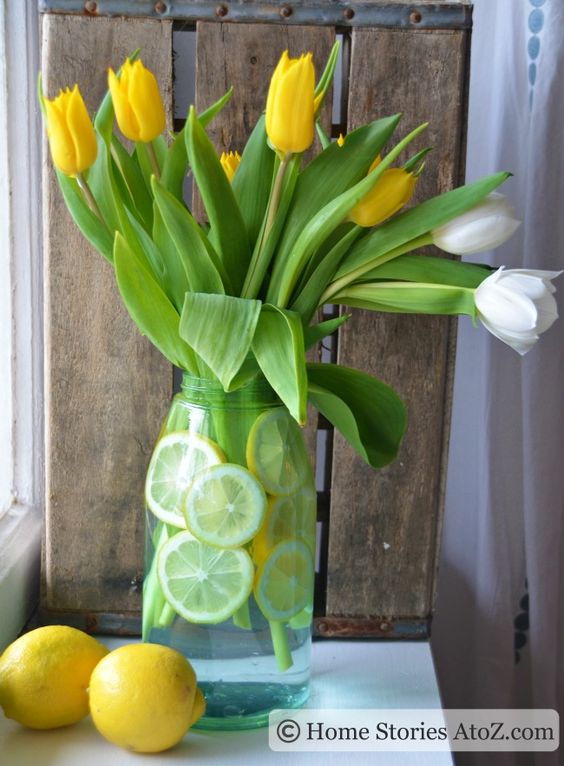 Four ways to decorate with tulips.