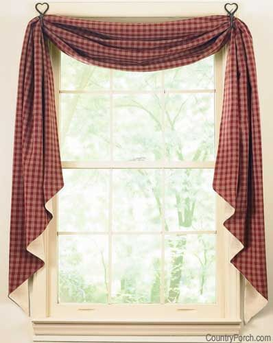 """THE COUNTRY PORCH- SUCH A GREAT WEBSITE FOR PRIMITIVE HOME DECOR, AND SO MUCH MORE!! Black Sturbridge Lined Fishtail Curtain Swag 145"""" x 25"""" $36.95/ea from countryporch.com"""