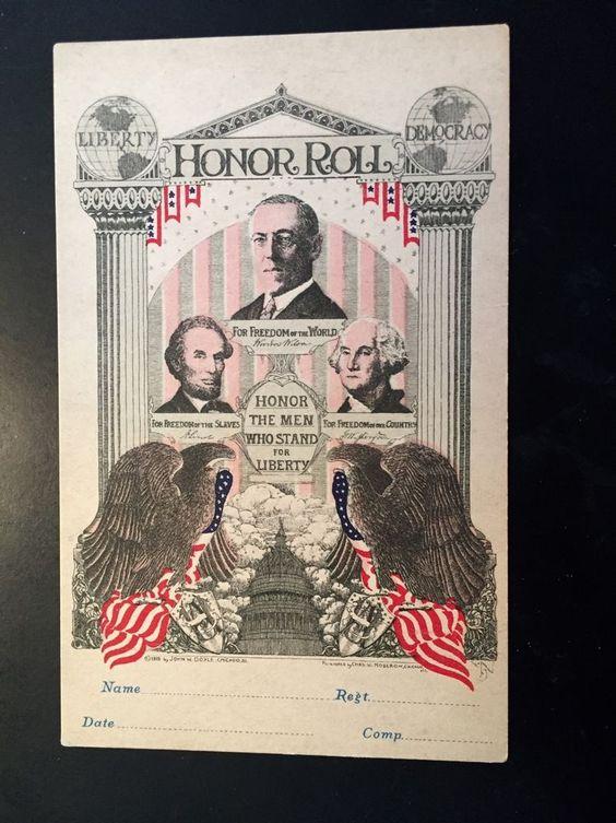 Unusual WWI US Honor Roll postcard Wilson Lincoln Washington c 1918  | eBay