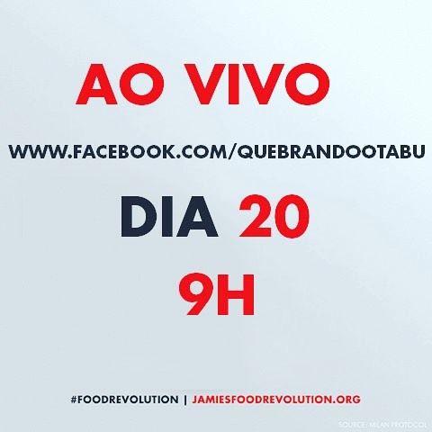 Logo mais as 9hs  vai rolar o Food Revolution!!!! Esta é uma campanha de conscientização sobre a nutrição no mundo - de onde vem o que comemos com que qualidade e como comemos!!! Liderada pelo Jamie Oliver @jamieoliver #foodrevolution http://ift.tt/1PJujkI by tiemusica