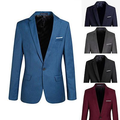 Fashion #stylish men casual slim fit one #button suit #dress blazer coat jacket t,  View more on the LINK: http://www.zeppy.io/product/gb/2/201392822354/