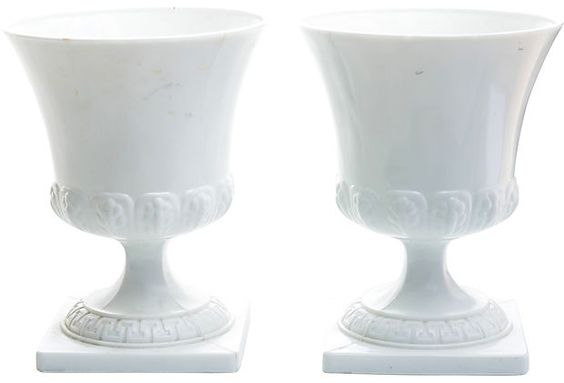 White Milk-Glass Planters, Pair