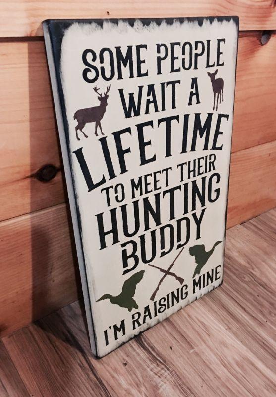 Deer Hunting Buddy Rustic Duck Sign Primitive Cabin Camp Decor Wooden Nursery