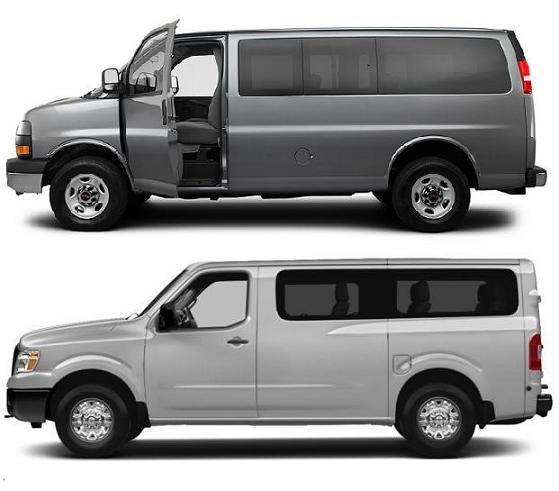 10 Passenger Vans GMC Savana Vs Nissan NV 3500