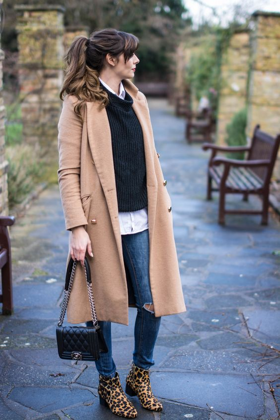 EJSTYLE - River Island Camel Coat, Next leopard print ankle boots ...