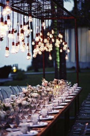 Edison Light Wedding Decor a great idea if we could figure out how to do this. Anyone know a great electrician?