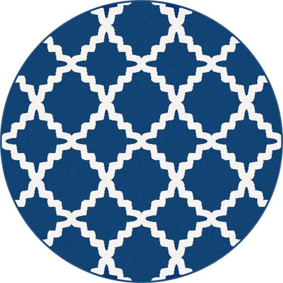 Metro Navy (Blue) 7 ft. 10 in. x 7 ft. 10 in. Round Contemporary Area Rug