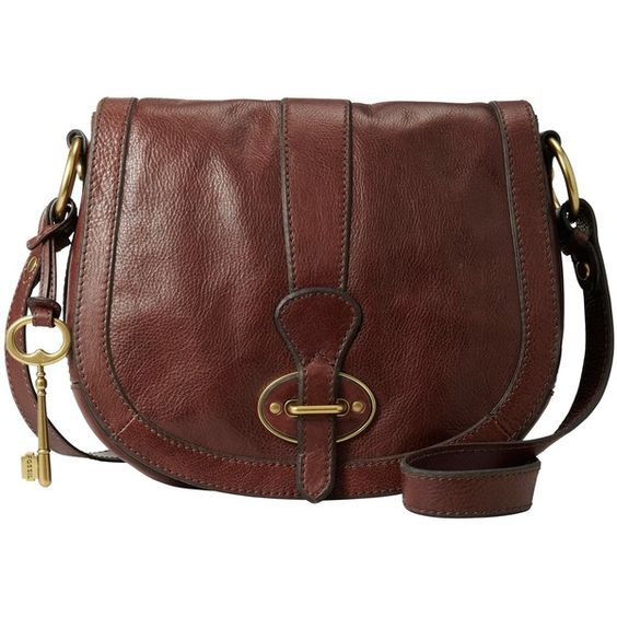 Fossil Reissue Flap Over Across Body Bag, Brown found on Polyvore